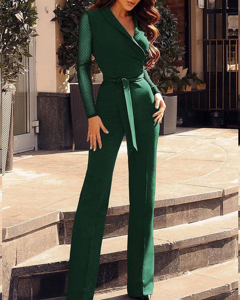 V-Neck Dots Mesh Sleeve Jumpsuit, Green