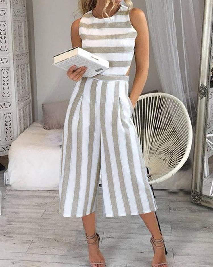Striped Cutout Waist Wide Leg Jumpsuit фото