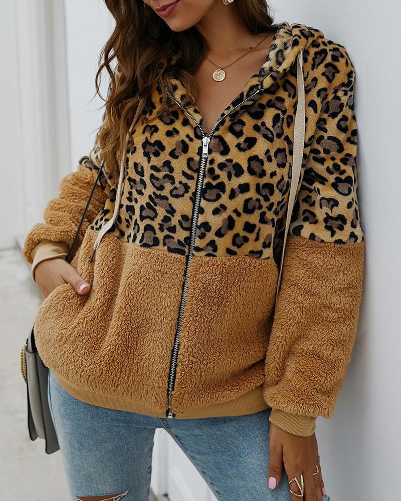 Cheetah Print Colorblock Fluffy Hooded Coat фото