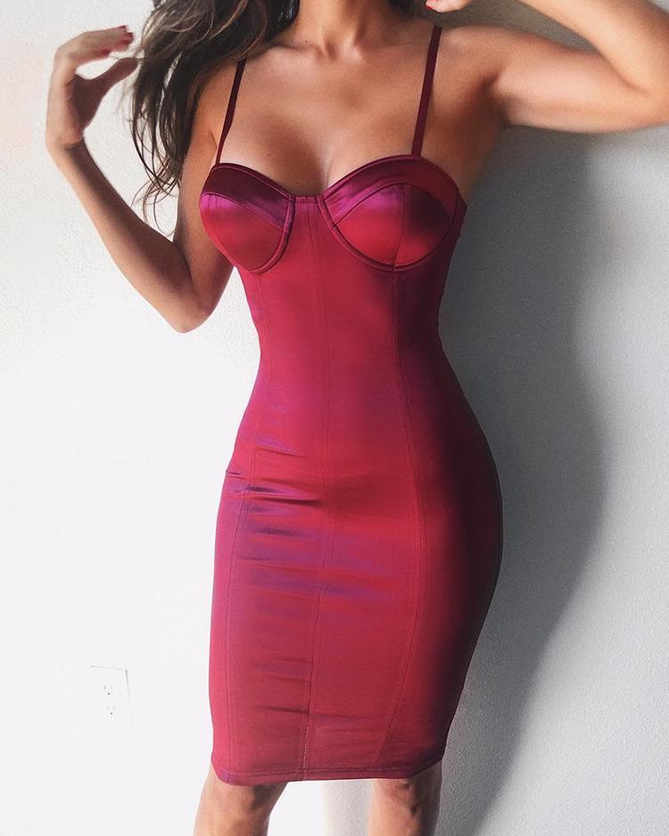 Spaghetti Strap Sweetheart Neck Bodycon Dress фото