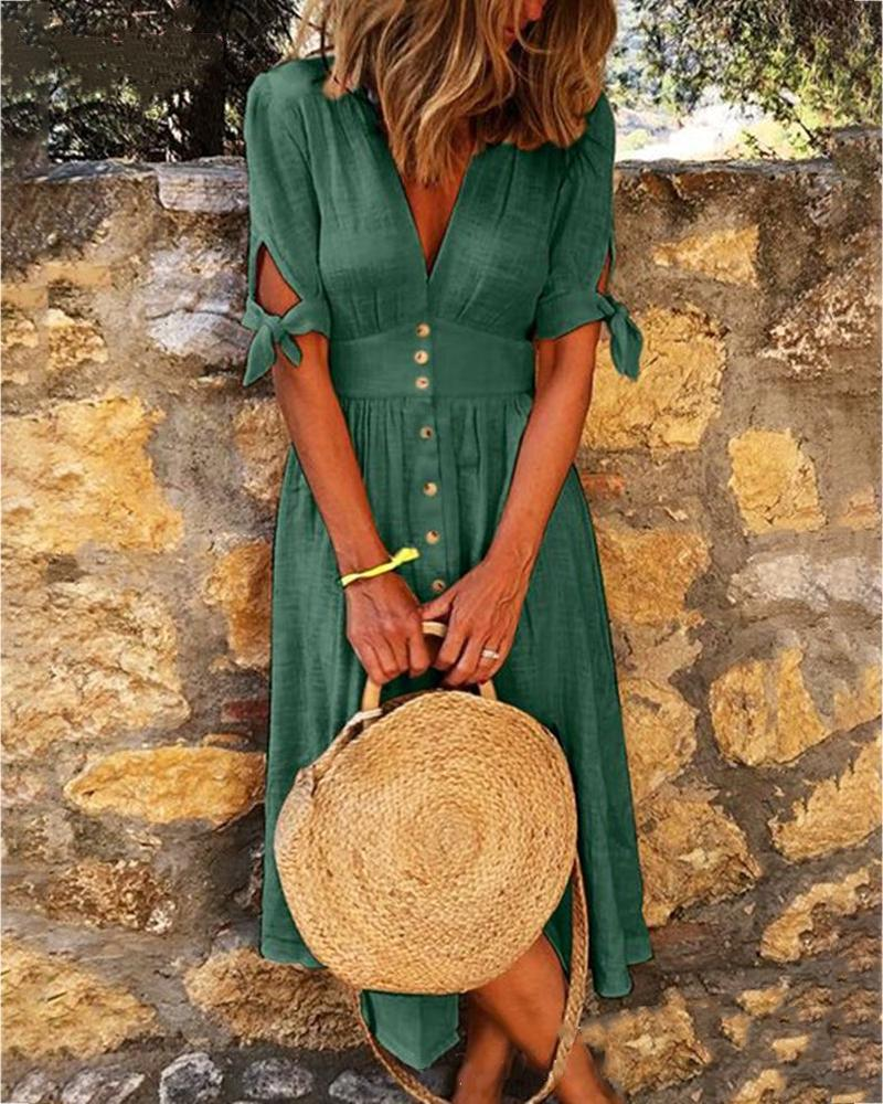 Solid V-neck Half Sleeve Casual Dress фото