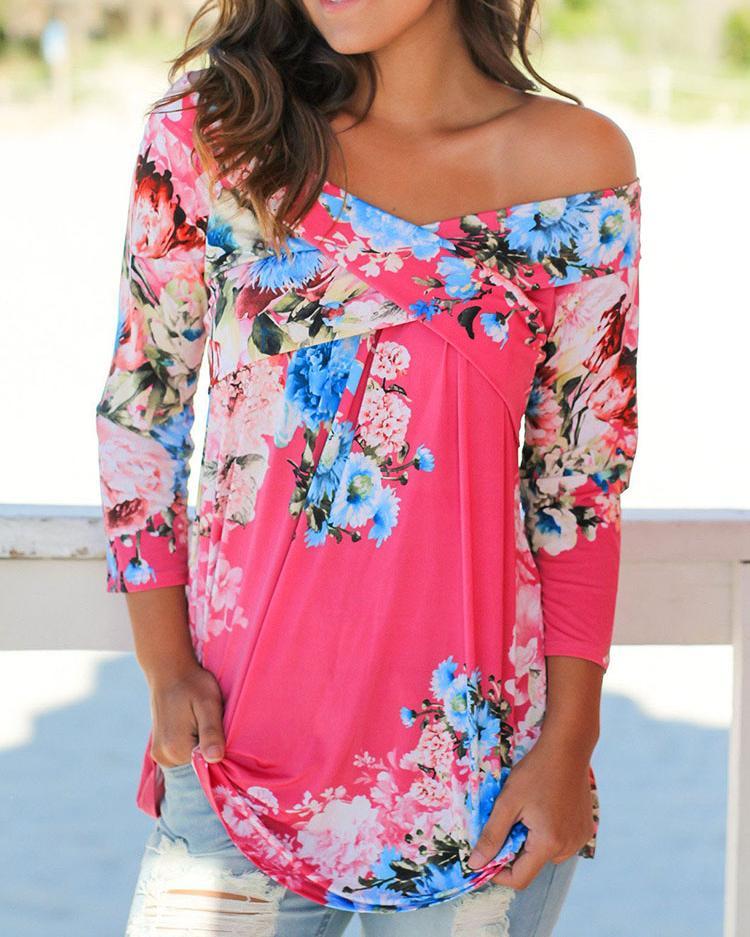chicme / Elegante Floral Blusa Casual de Hombro