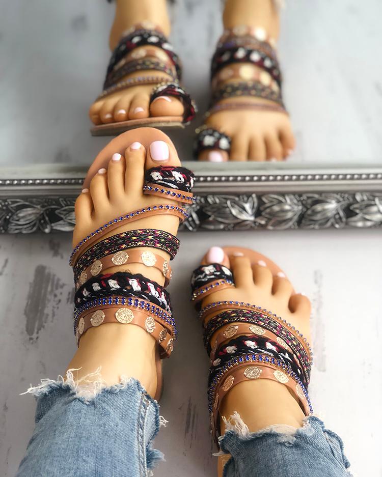 ivrose / Sandalias planas de estilo étnico del dedo del pie del dedo del pie