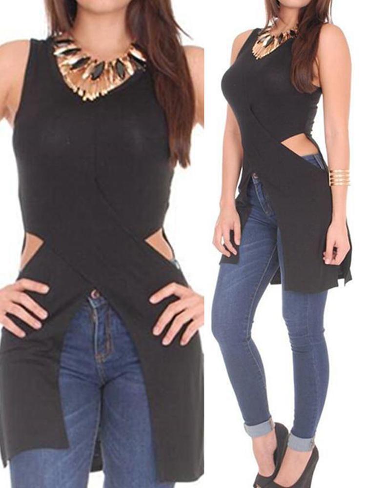 Asymmetric Side Slit Cutout Casual T-shirt