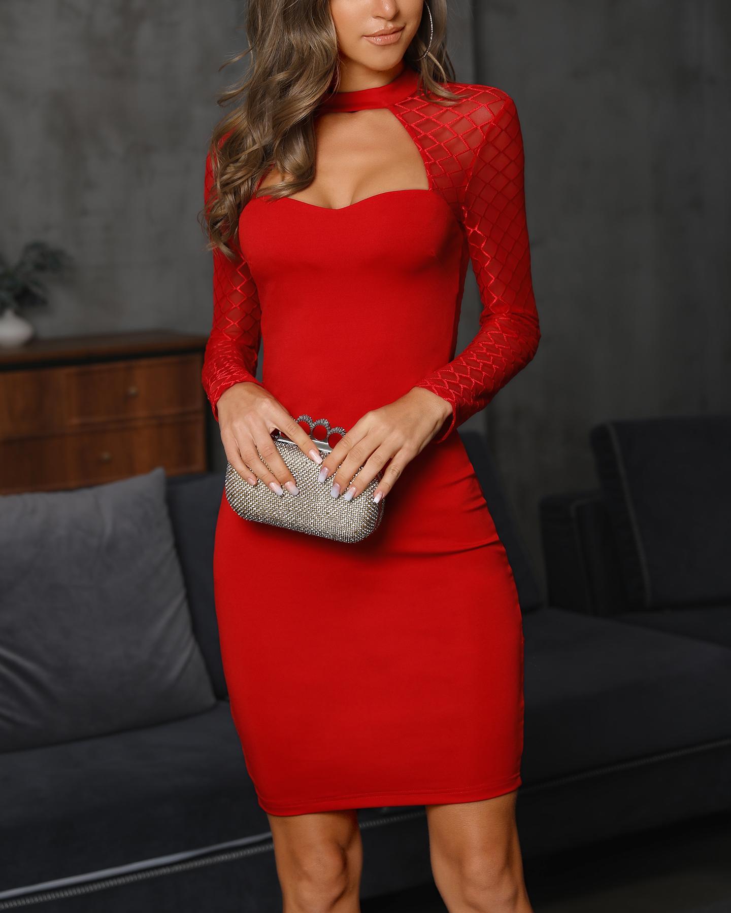Cutout Grid Mesh Insert Bodycon Dress, Red