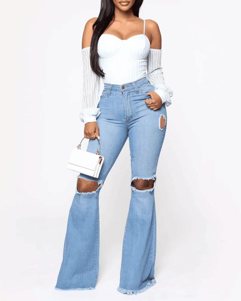 High Waist Cut Out Bell Bottom Jeans фото