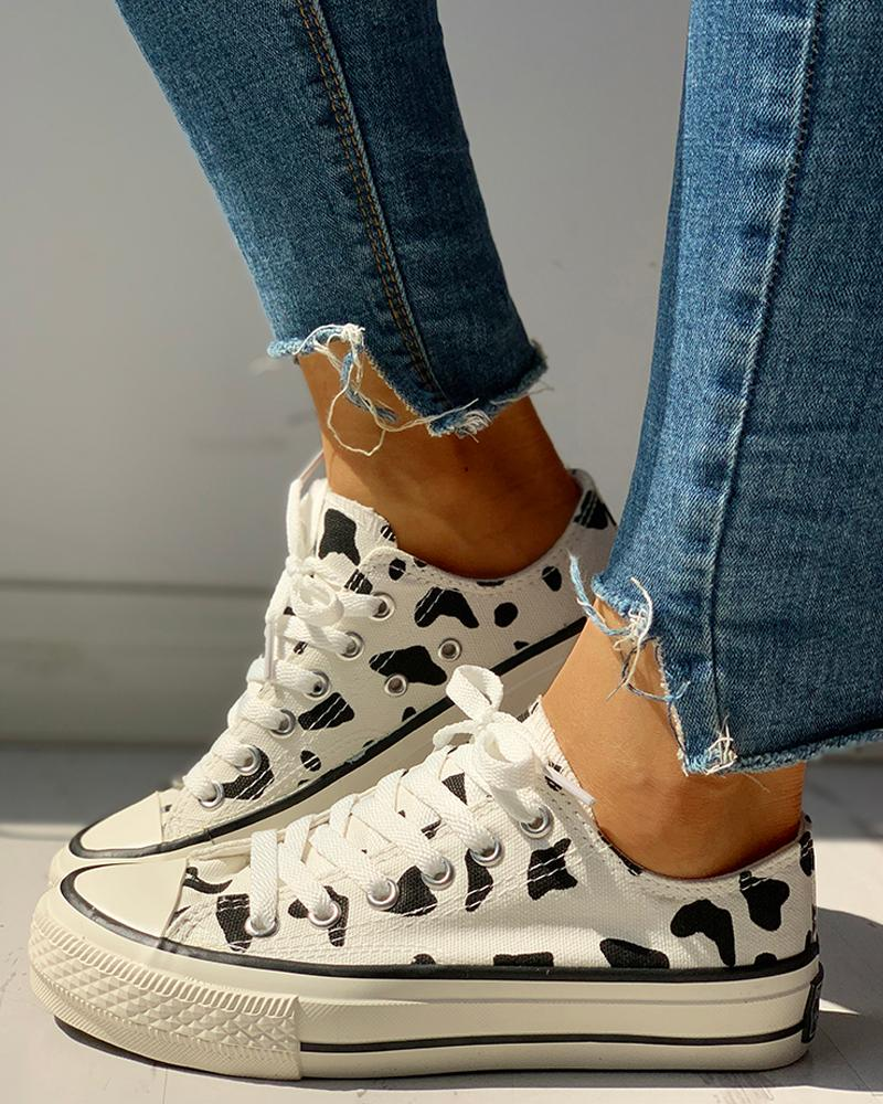 Abstract Print Lace-Up Sneakers, White