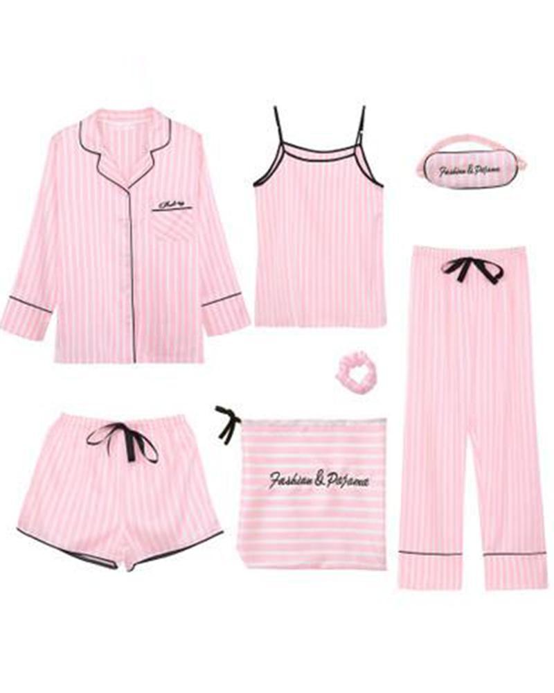 Satin 7-Piece Pajama Set фото