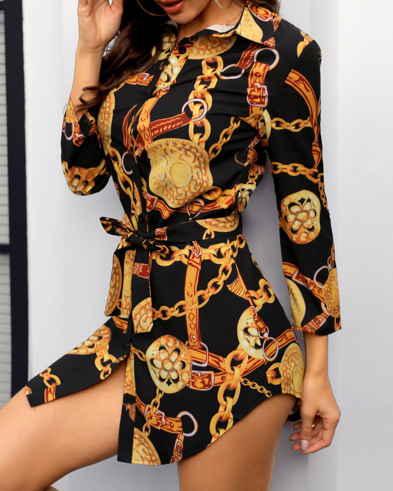 Chain Print Belted Shirt Dress, Black