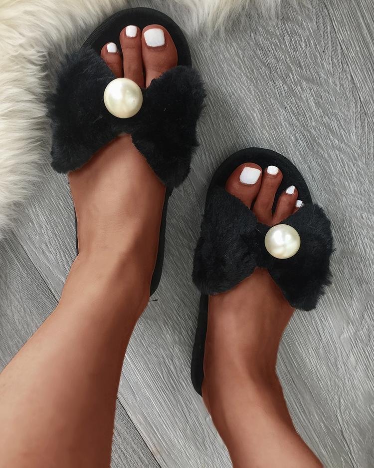 Bowknot Pearl Decorated Fur Flat Sandals - Black