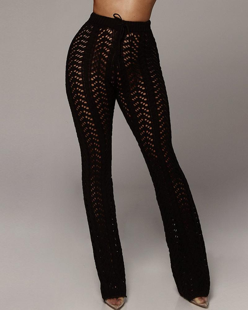 Hollow Out Knitted Pants фото