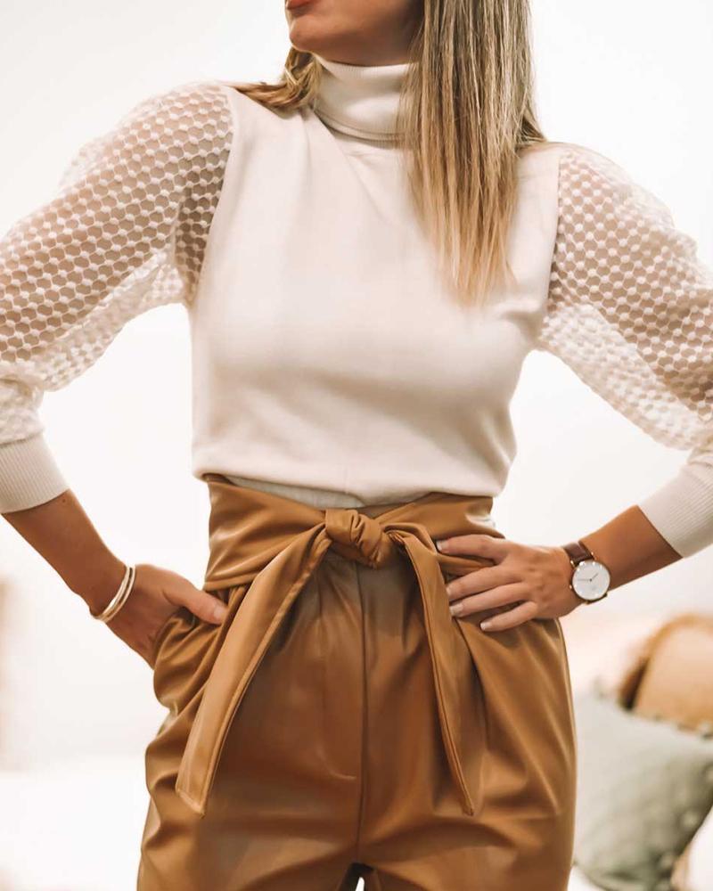 ivrose / Blusa de manga comprida com gola alta e renda