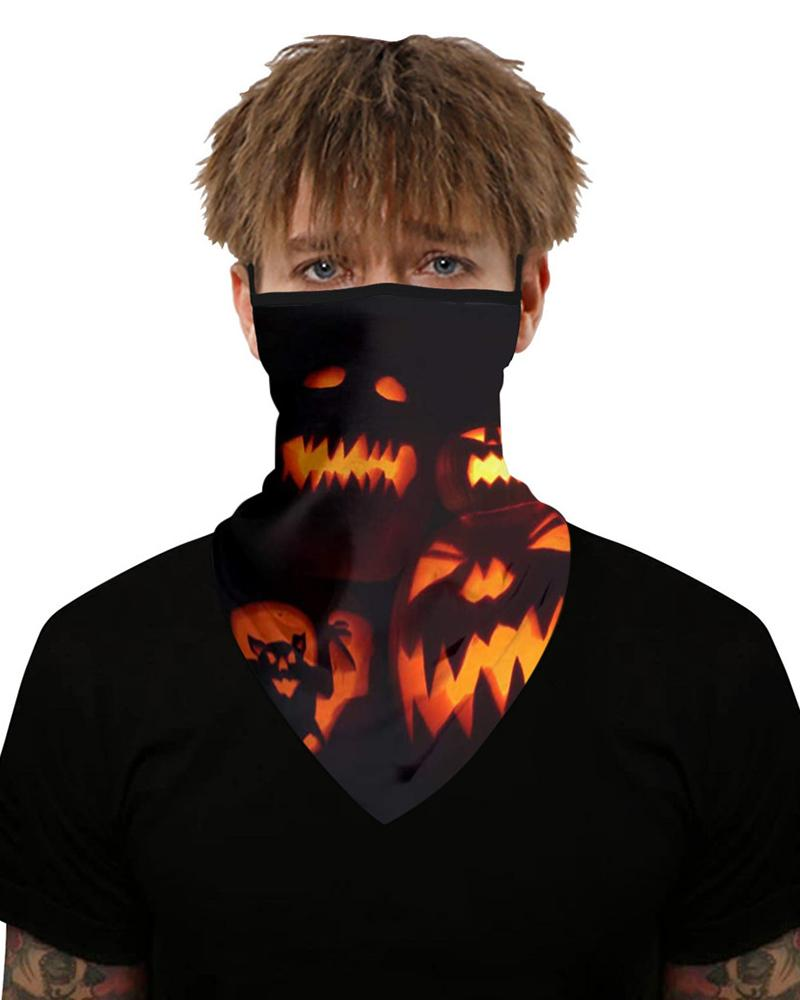 Halloween Pumpkin Skull Print Breathable Ear Loop Face Cover фото