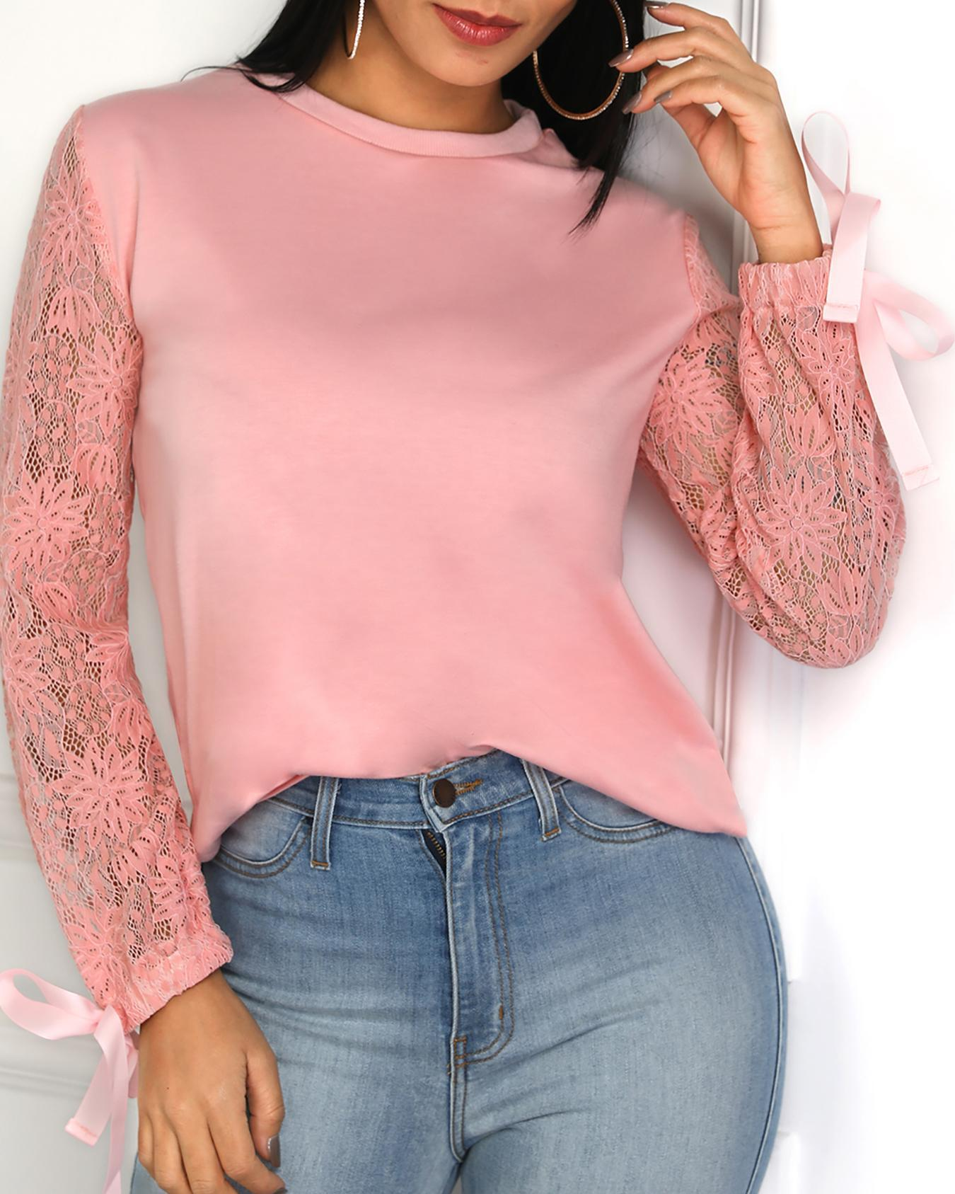 Lace Sleeve Knot Cuff Curved Blouse фото