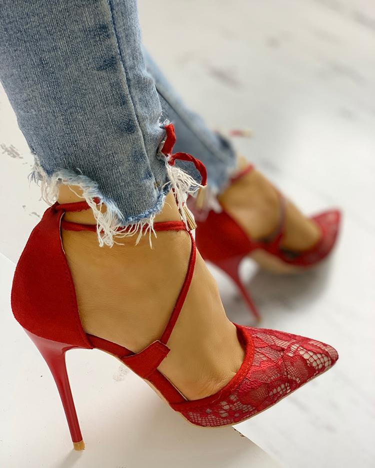 Lace Hollow Out Lace-Up Thin Heeled Sandals
