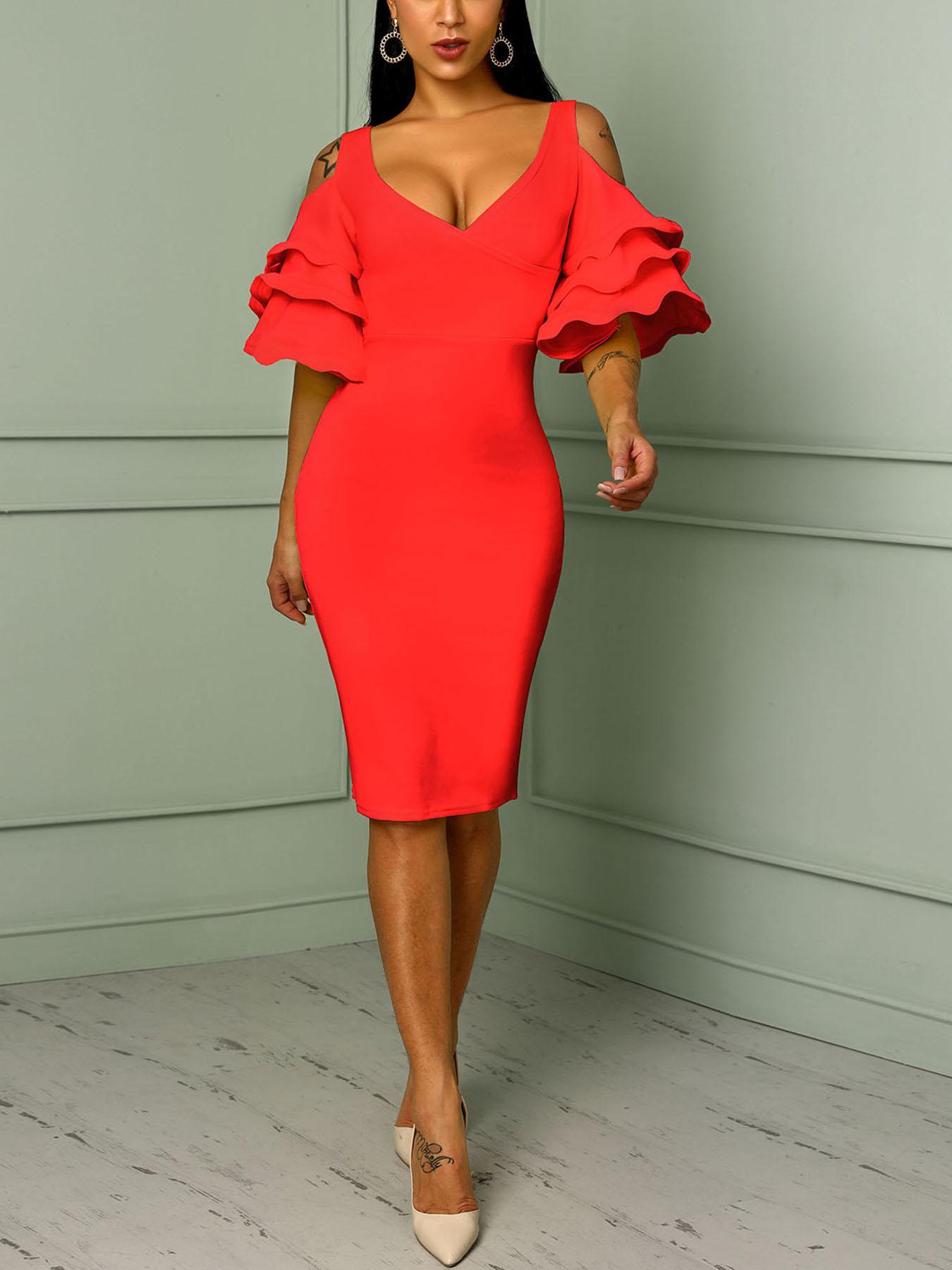 Solid Frilled Cold Shoulder Wrap Midi Dress, Red