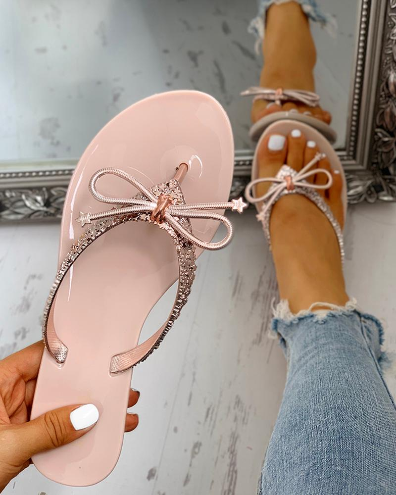 Glitter Bowknot Design Toe Post Sandals фото