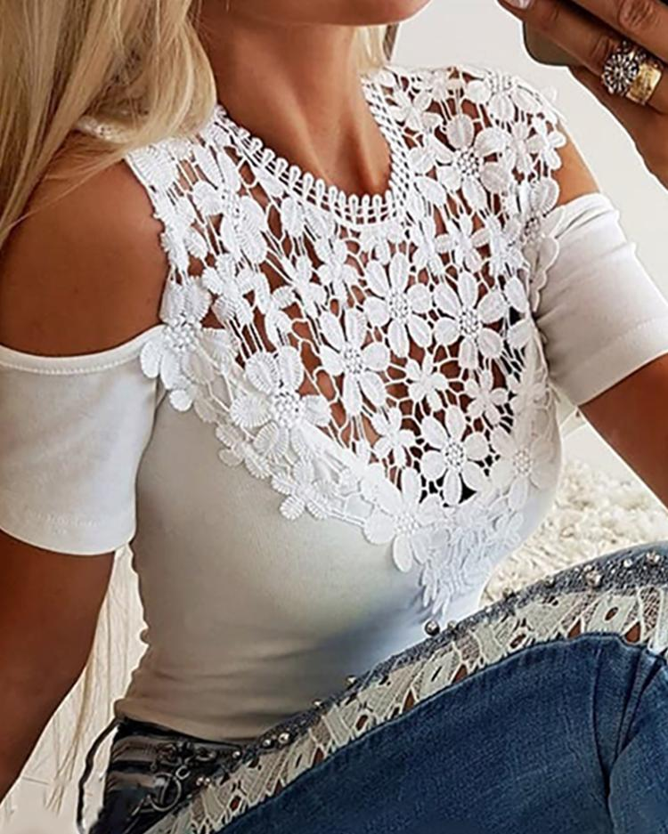 Cold Shoulder Lace Insert Casual Top