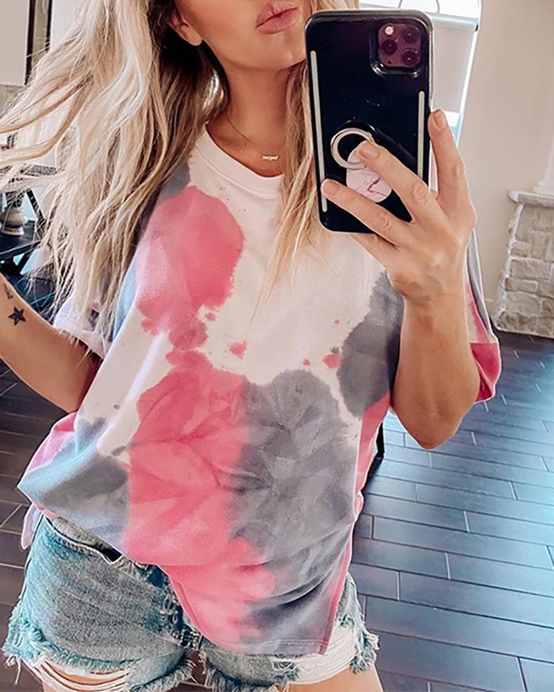 Round Neck Tie Dye Print T-shirt фото