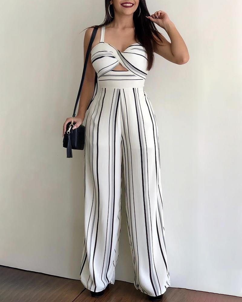 Striped Twisted Cutout Front Jumpsuit фото