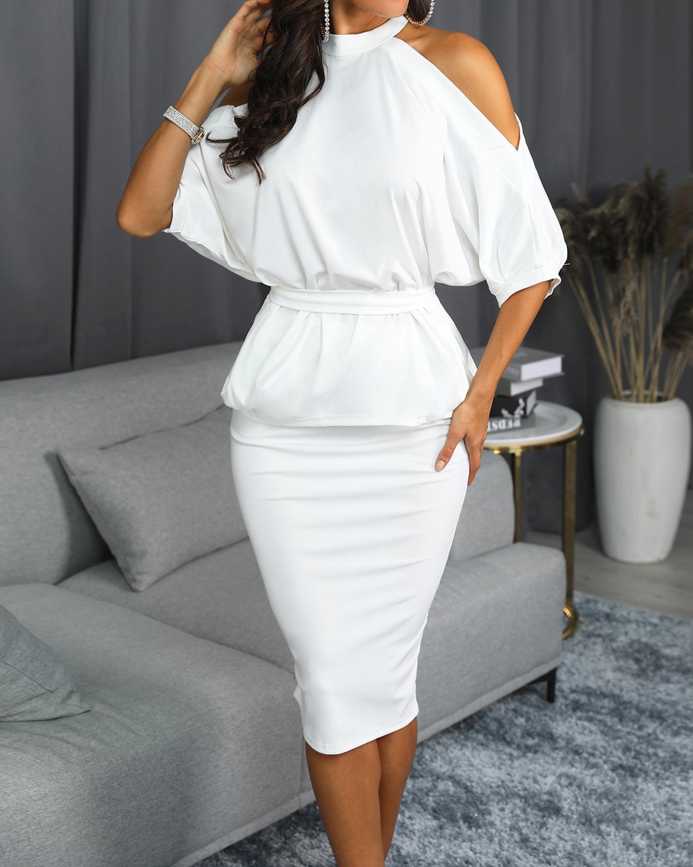Cold Shoulder Peplum Top & Skirt Set