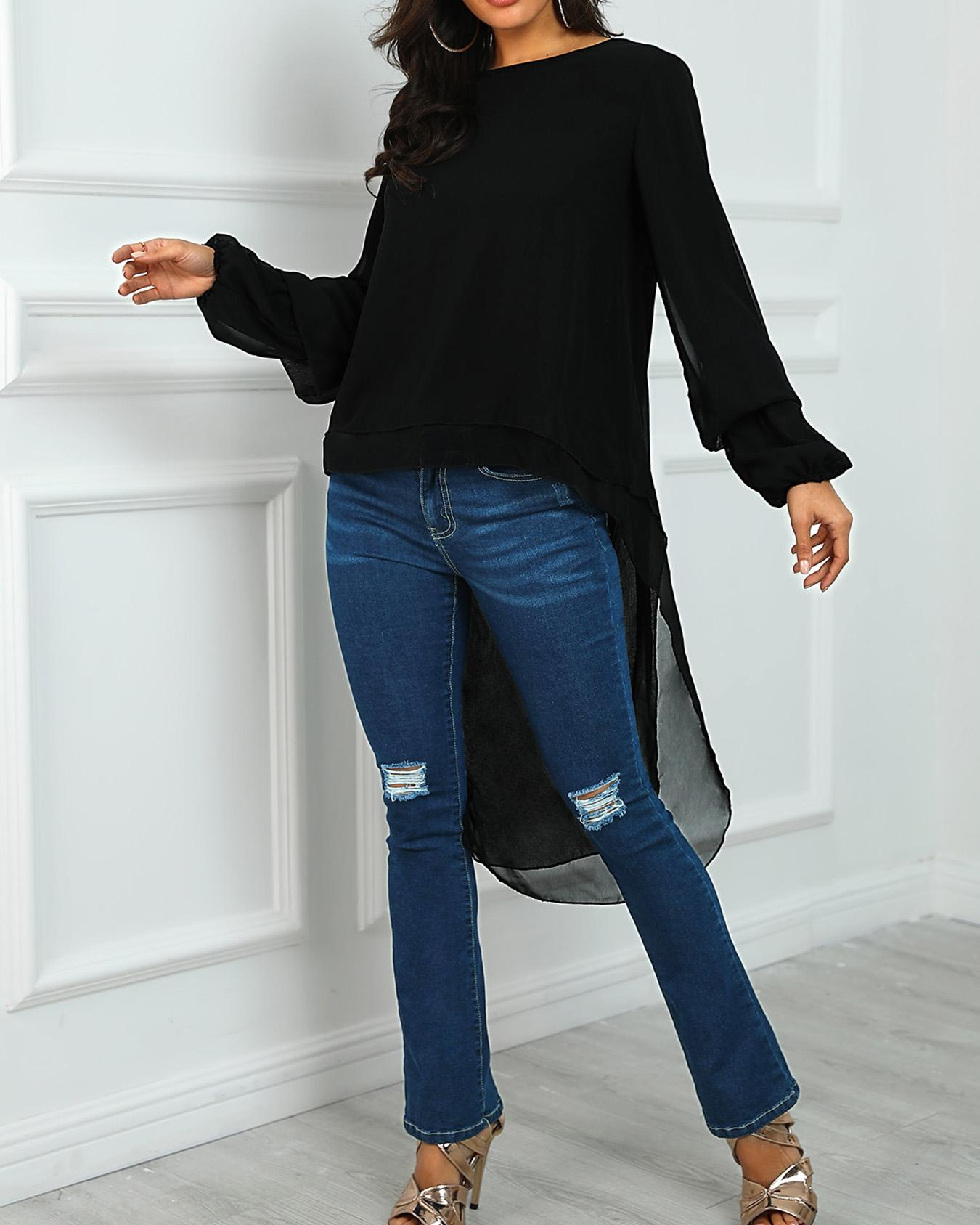 joyshoetique / Lantern Sleeve Dip Hem Blouse