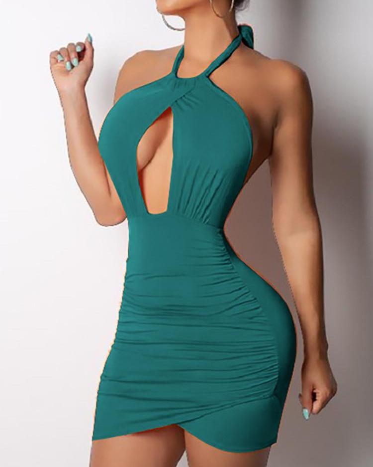 Open Back Halter Cutout Bodycon Dress