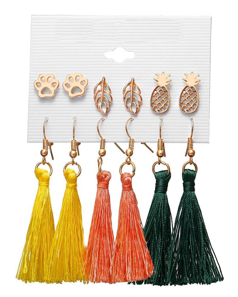 6 Pairs Beaded Hoop Tassel Ear Cuff Earring Set фото