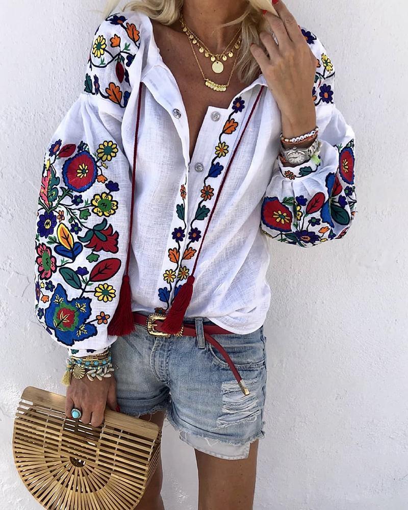 chicme / Blusa de manga de lanterna de impressão floral