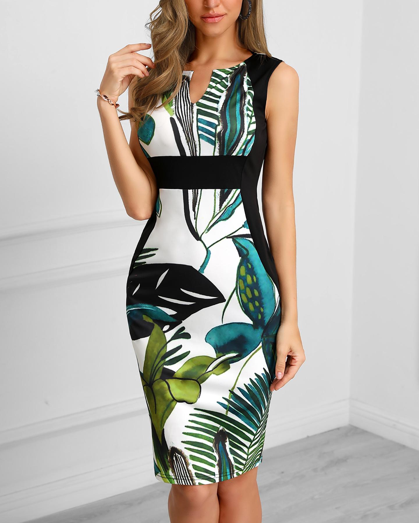 chicme / Vestido ajustado con aplicación de estampado de hojas