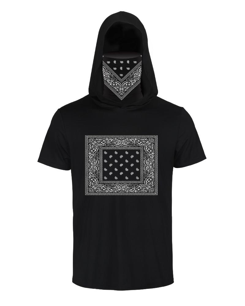 Print Hooded Casual T-shirt With Ear Loop Face Bandana фото