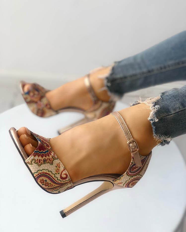 Tribal Print Peep Toe Thin Heeled Sandals фото