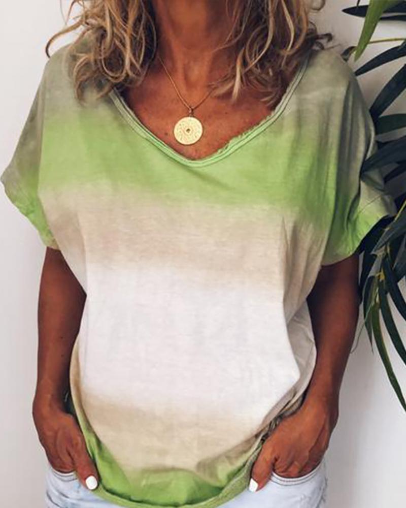 V-neck Gradient Color Casual T-shirt фото