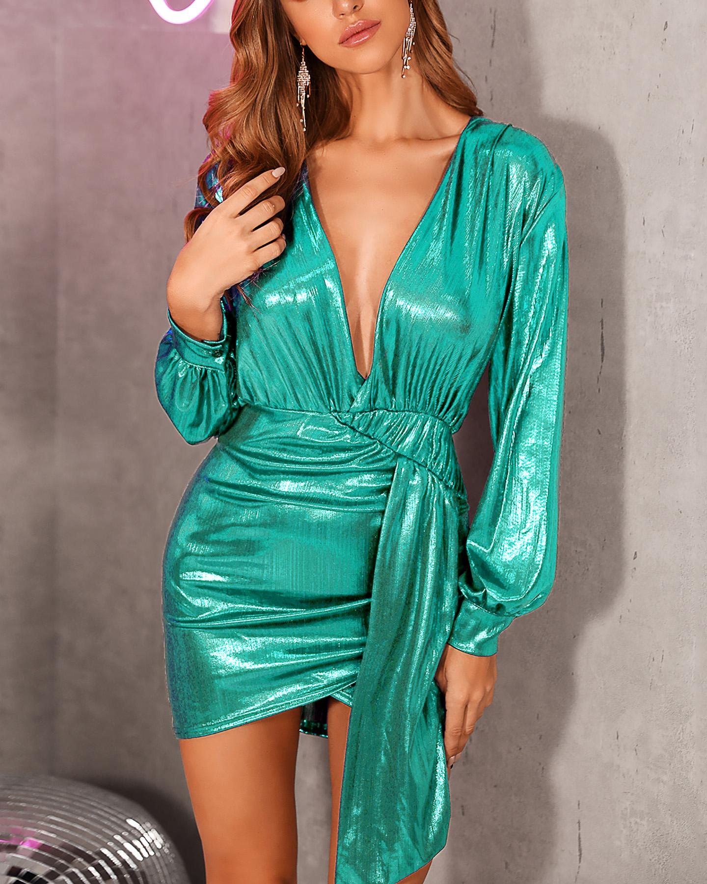 Metallic Plunging Scrunched Irregular Party Dress фото