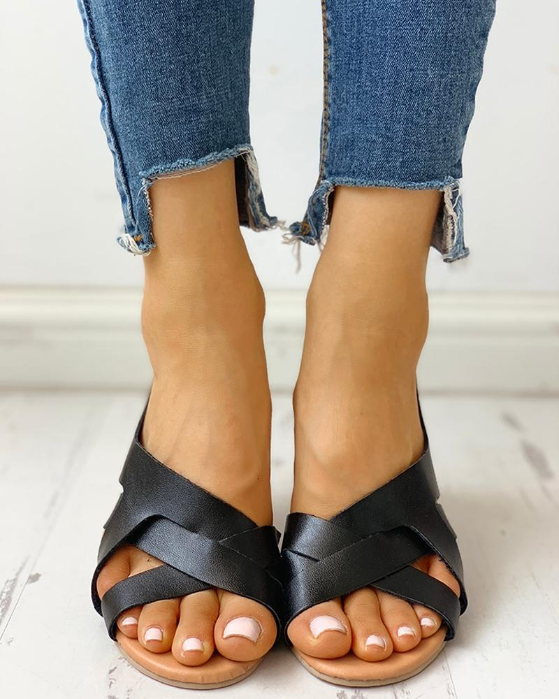 Open Toe Crisscross Slingback Flat Sandals