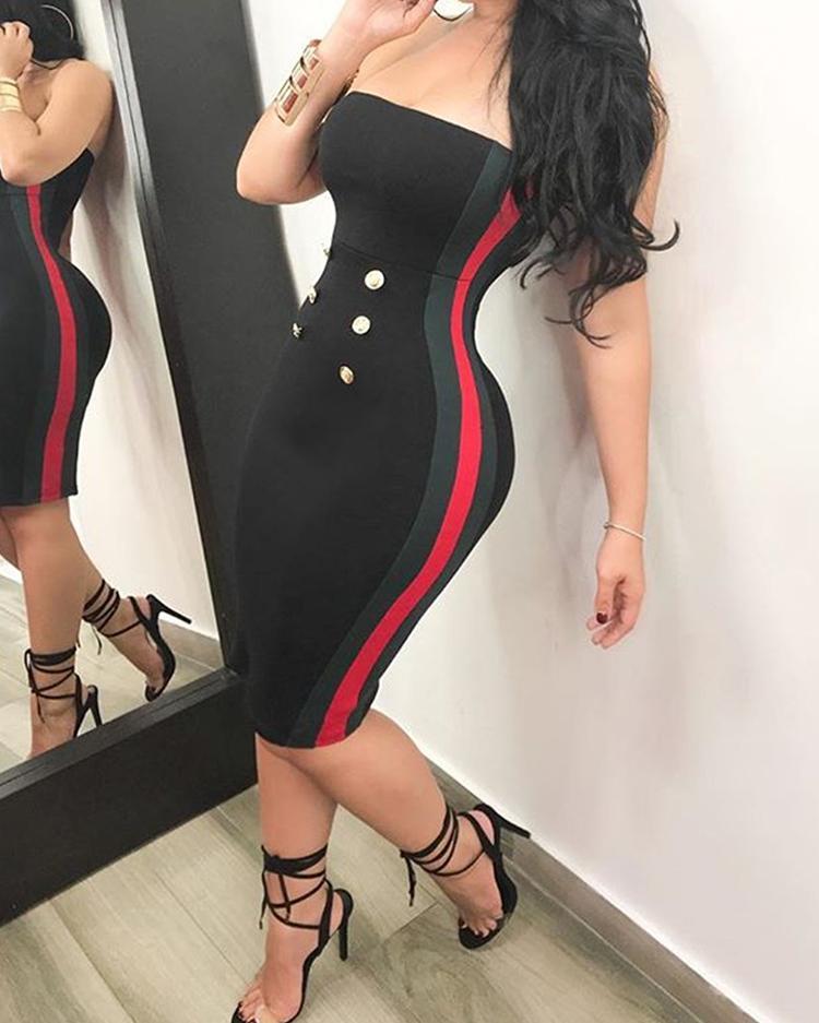 Side Stripes Button Off Shoulder Midi Dress