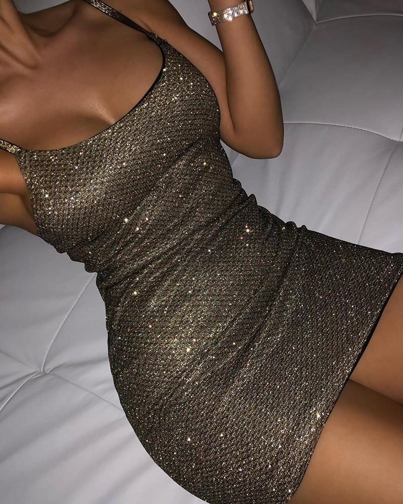boutiquefeel / Vestido bodycon brilhante com alça espaguete transparente malha brilhante