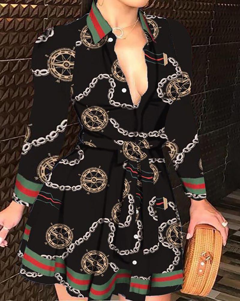 Mixed Print Buttoned Long Sleeve Ruffles Dress, Style5