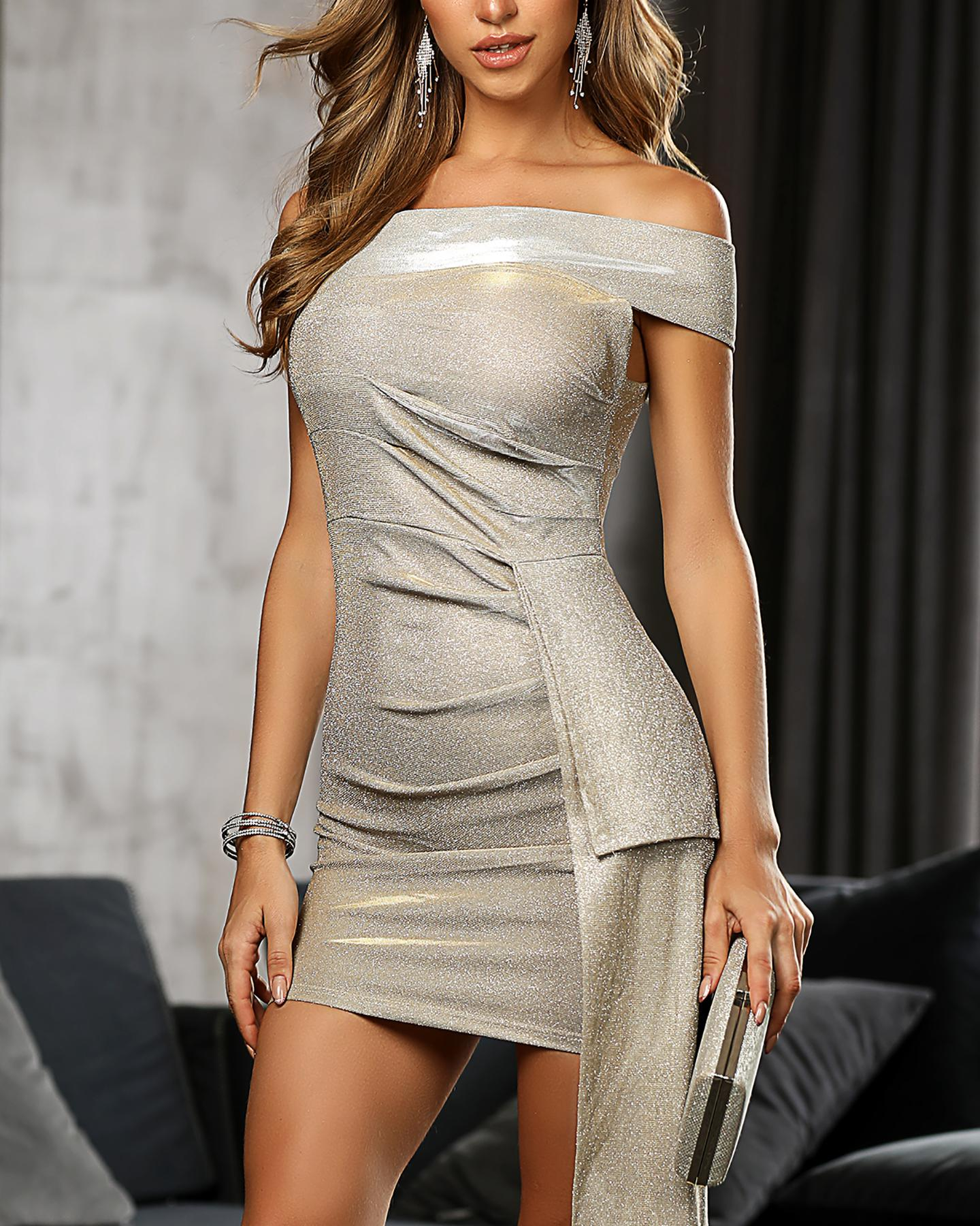 Glitter Off Shoulder Ruched Bodycon Dress фото