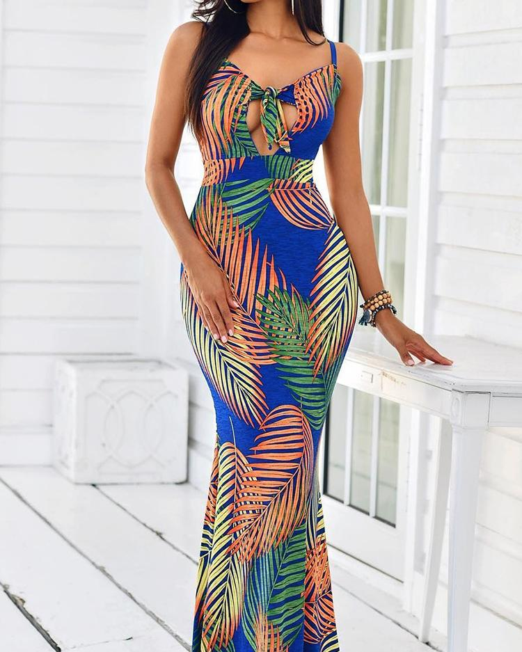 Tropical Print Cut Out Knot Front Maxi Dress