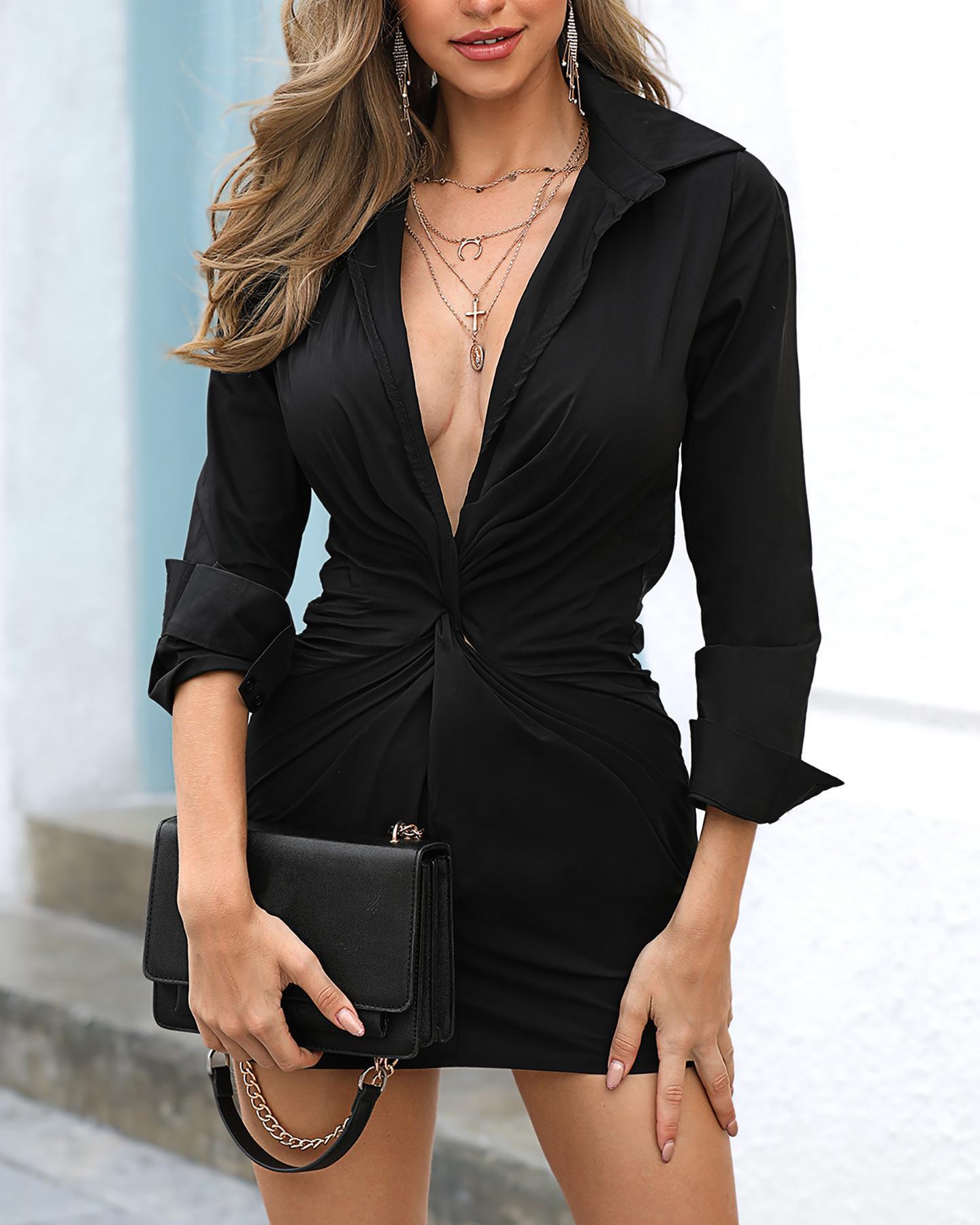 boutiquefeel / Ruched Twist Tight Waist Shirt Dress