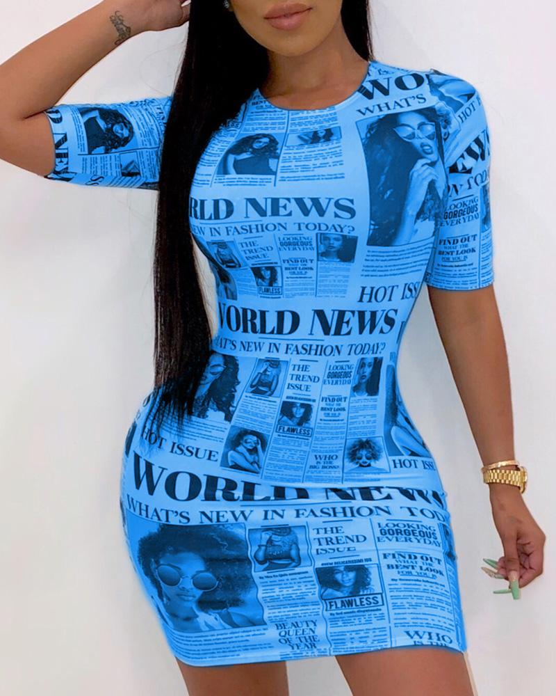 Short Sleeve Newspaper Pattern Bodycon Dress фото