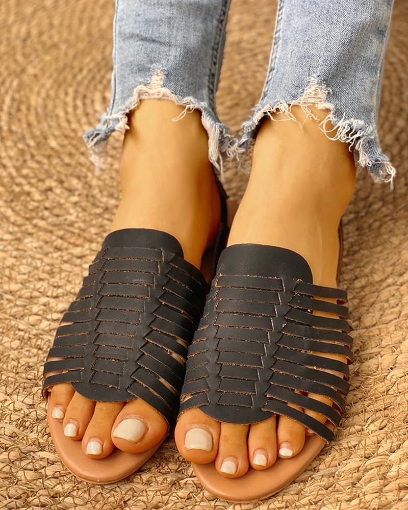 Braided Design Peep Toe Flat Sandals