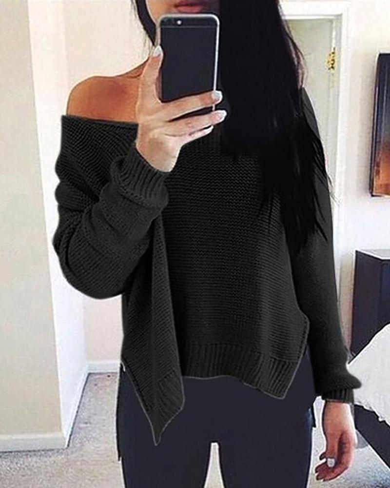 Solid Side Slit Long Sleeve Casual Sweater фото