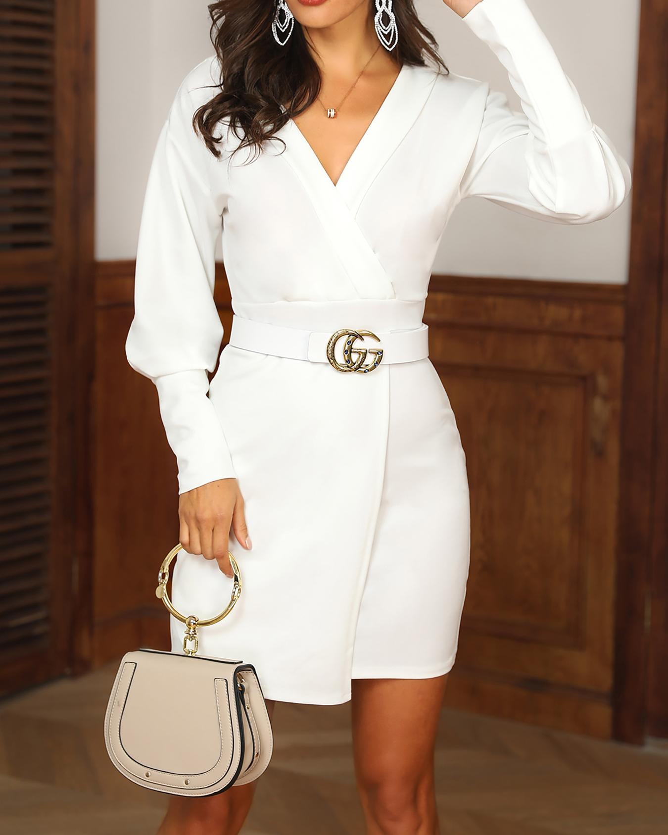 ivrose / Gigot Sleeve Surplice Front Blazer Dress