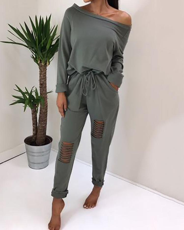 Trendy Ripped Skew Neck Tied Waist Casual Jumpsuit