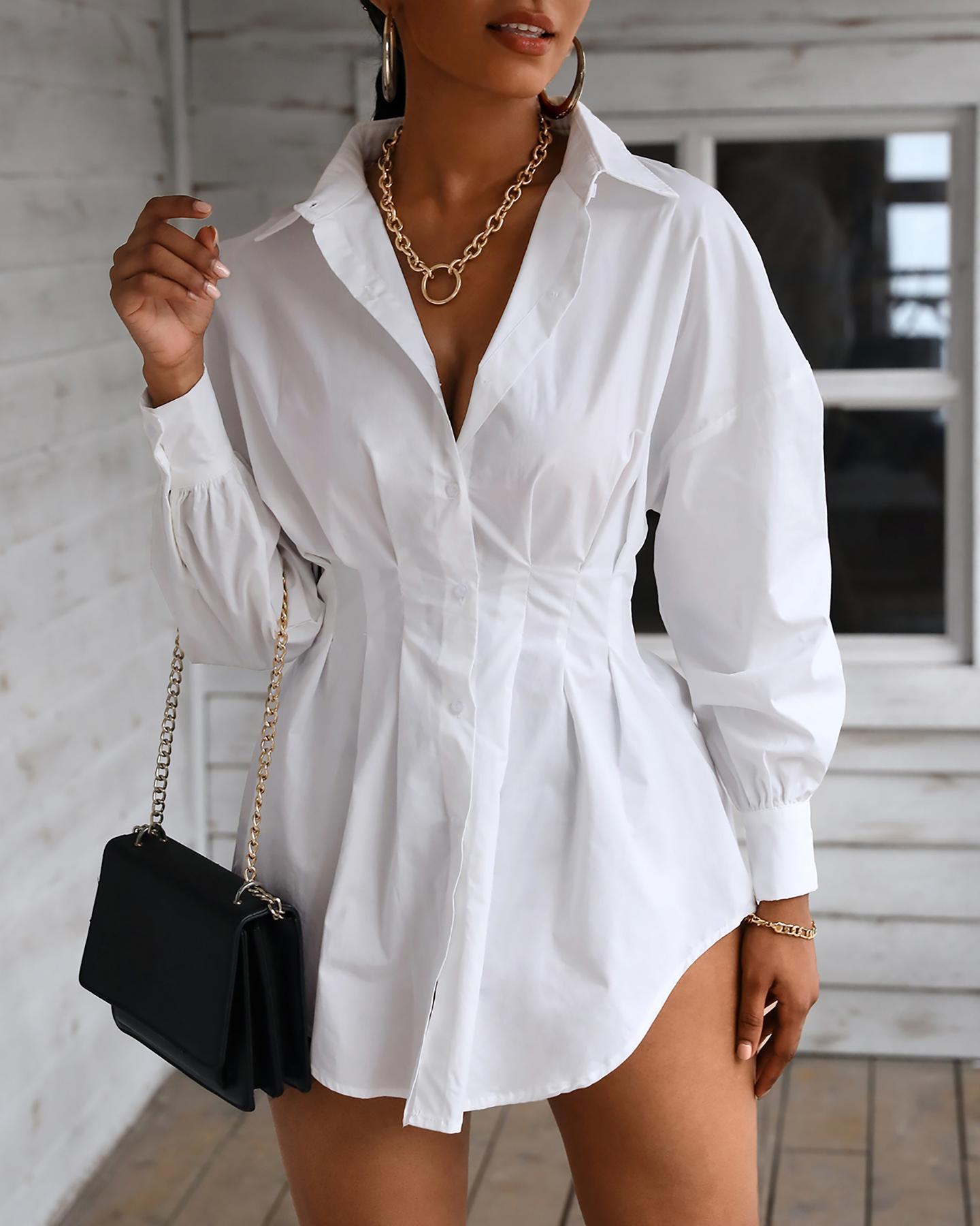 Solid Long Sleeve Casual Shirt Dress фото