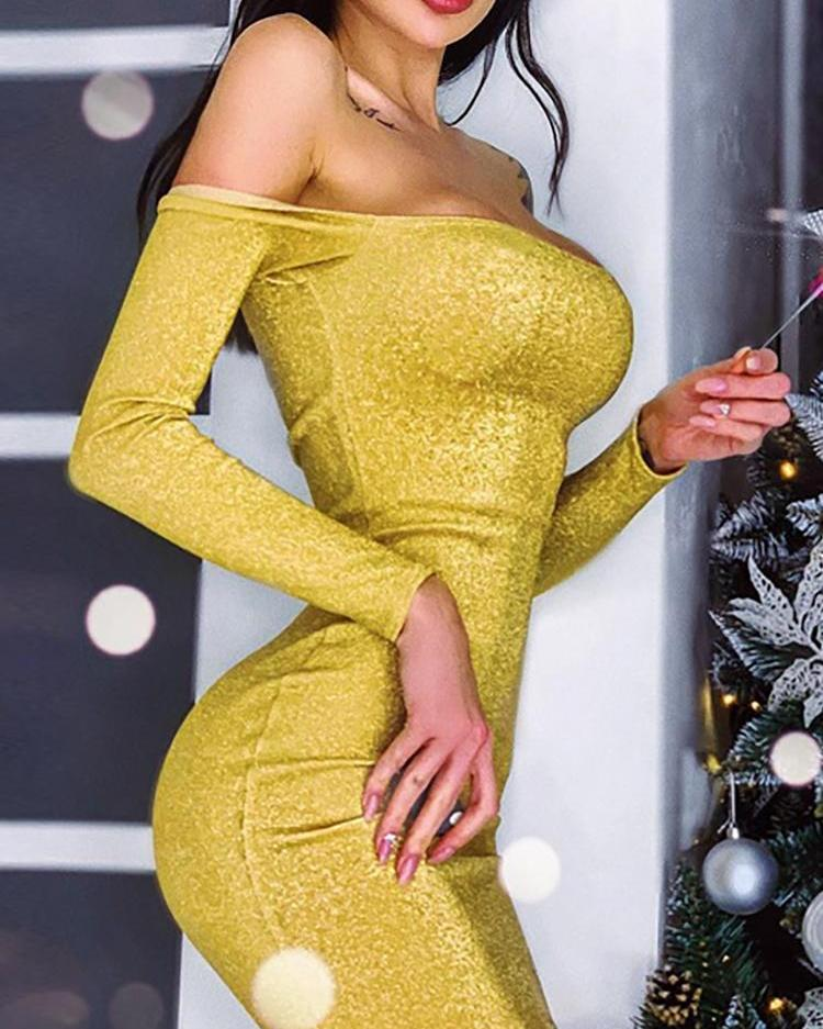 Off Shoulder Glitter Bodycon Dress