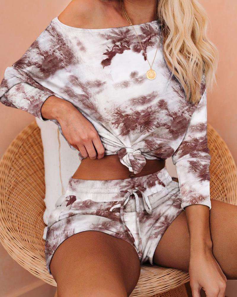 boutiquefeel / Tie Dye Print Long Sleeve Top & Shorts Set