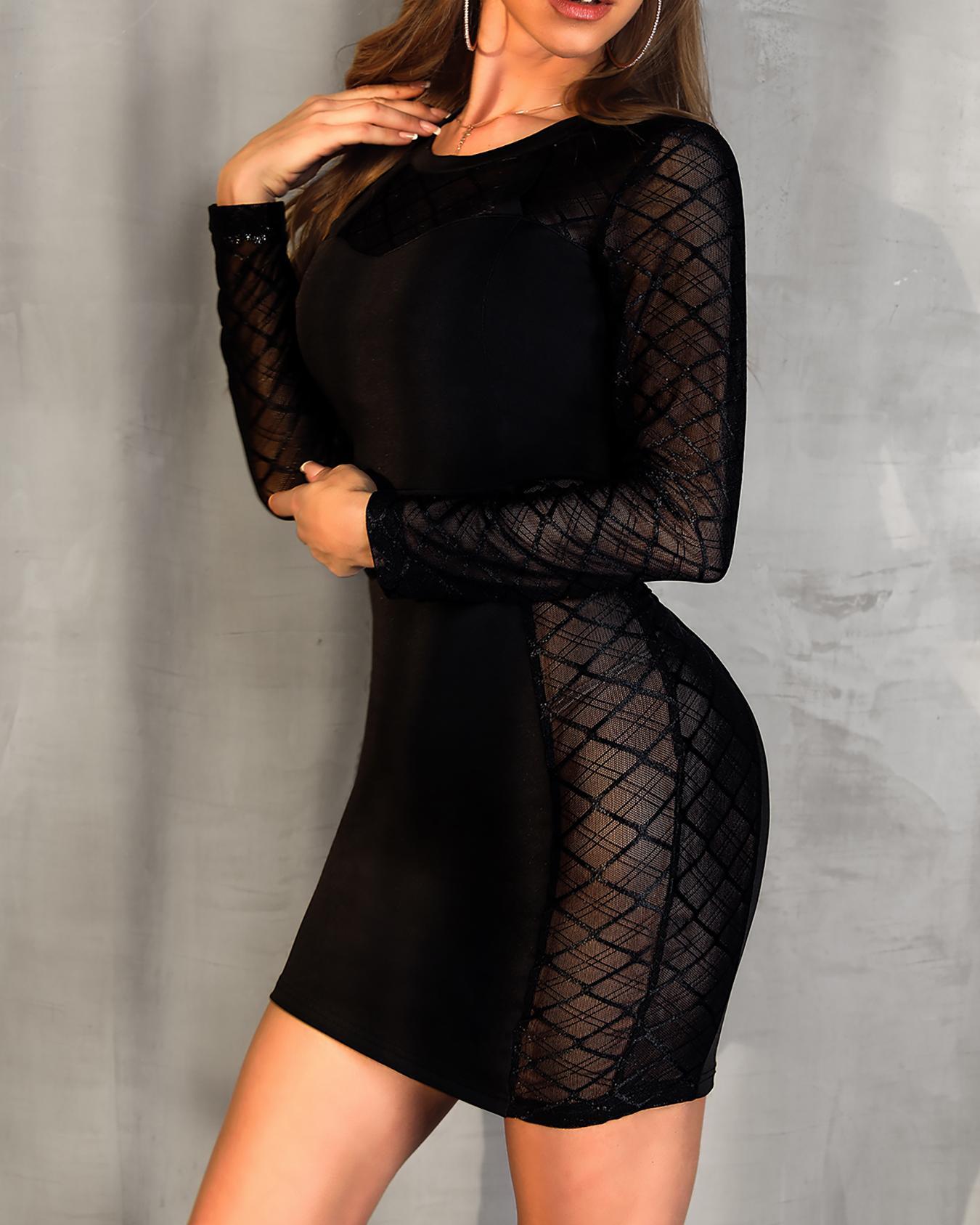 Sheer Mesh Splicing Slinky Dress фото